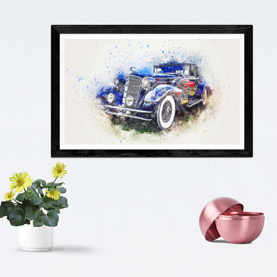 Dark Blue Vintage Car Framed Painting