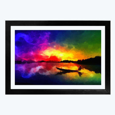 abstract Night  Glass Framed Painting