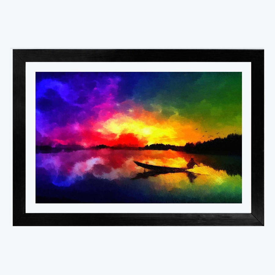 abstract Night Framed Painting