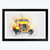 Yellow Vintage car Bike Glass Framed Painting