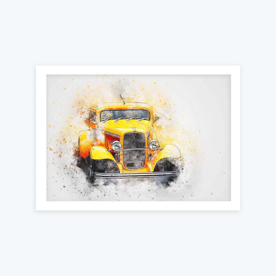Yellow Vintage car Framed Painting