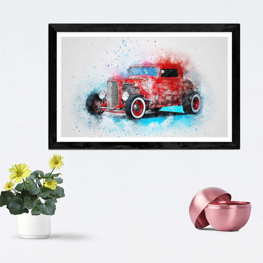 Red Vintage Car Framed Painting