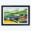 Village  Glass Framed Painting