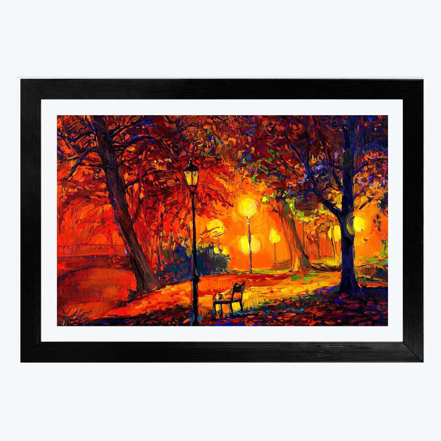 Night Oil Framed Painting
