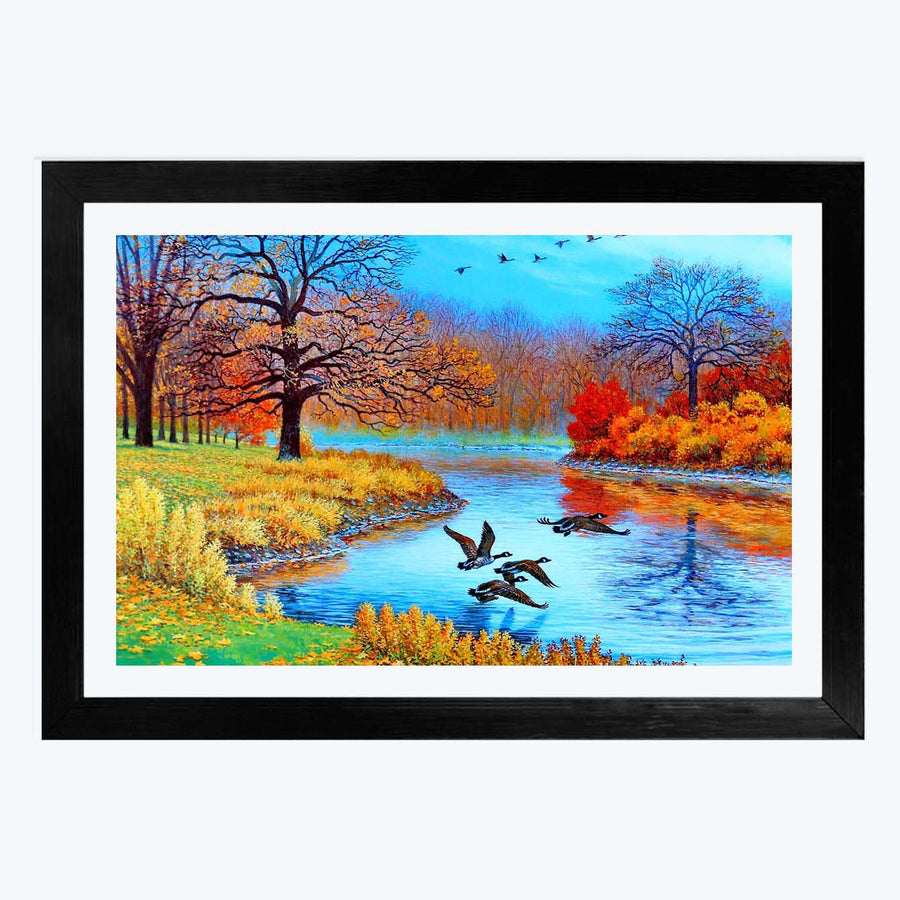 Colorful Lake Framed Painting