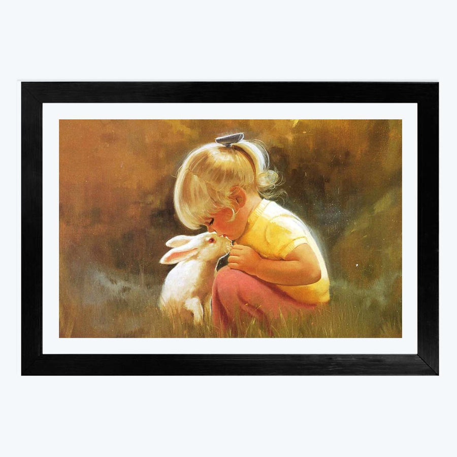 Rabbit and Girl Framed Painting