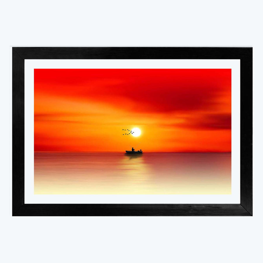 Sea Sunset Framed Painting