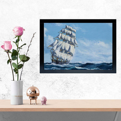 Ship in Sea Framed Painting