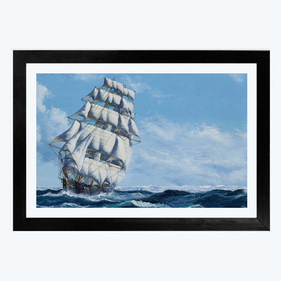 Ship in Sea  Glass Framed Painting