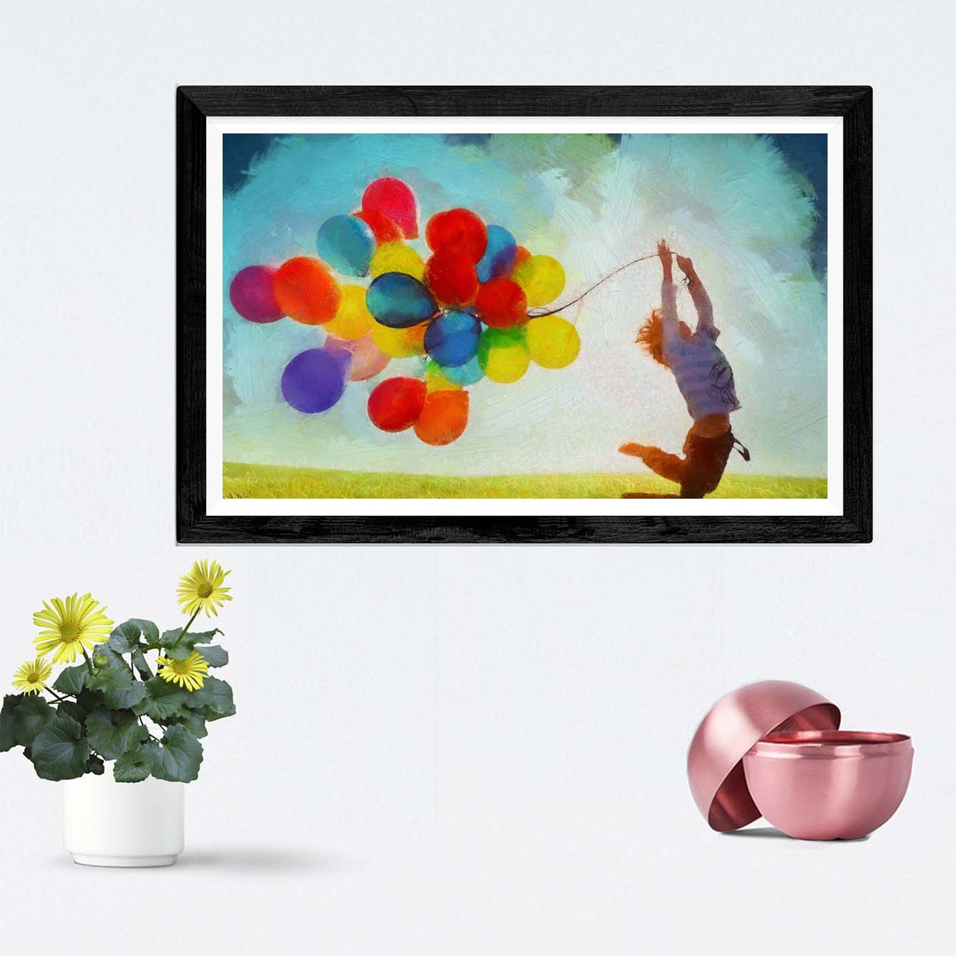 Colorful Balloon Framed Painting