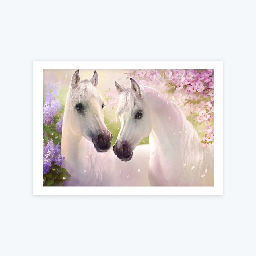 White Horse Framed Painting