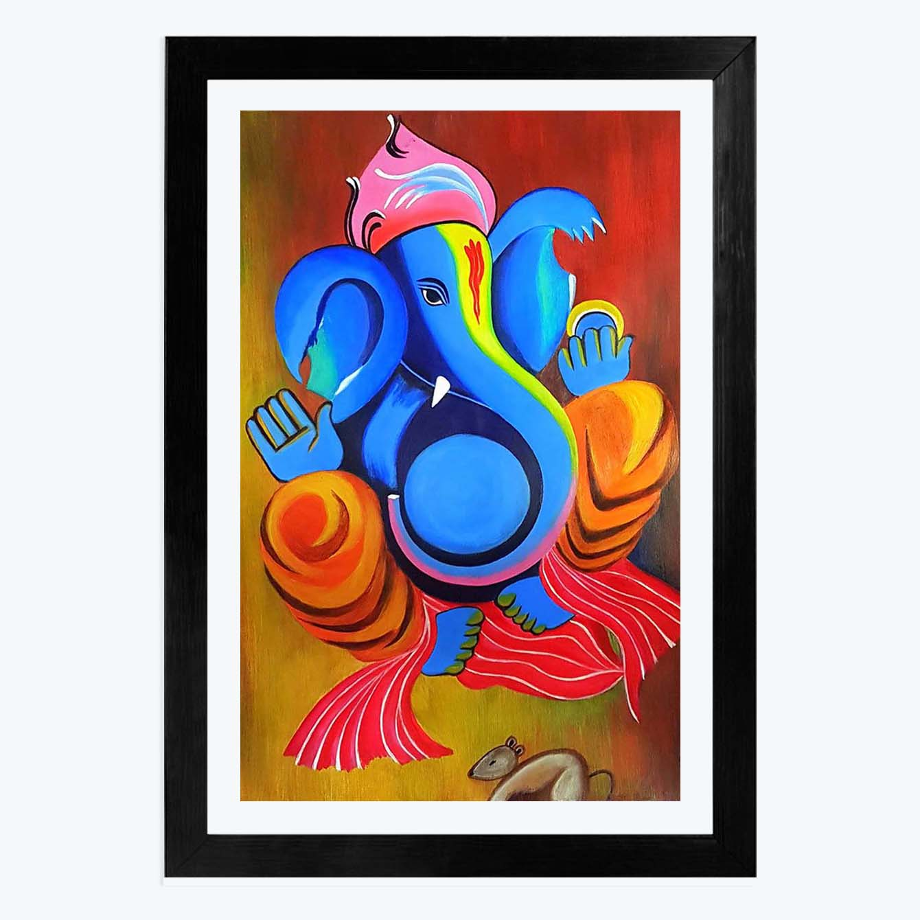 Ganesha Spiritual Glass Framed Painting