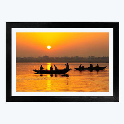 Sunset Lake View Travel Framed Photography