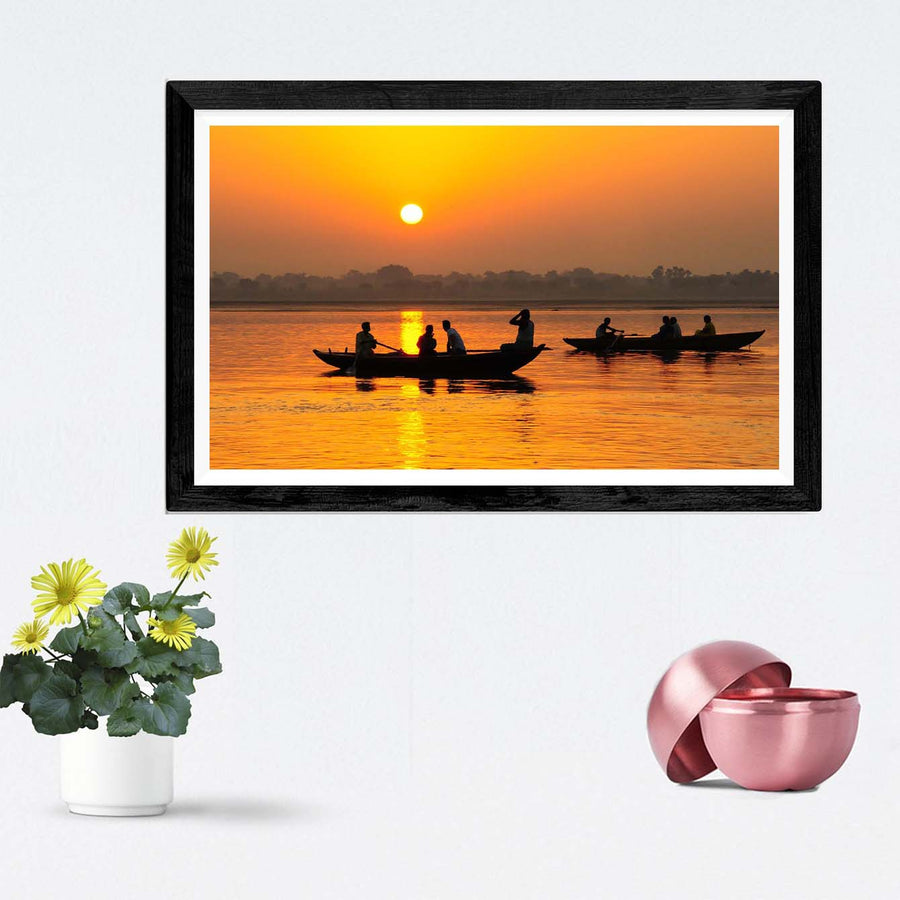 Sunset Lake View Framed Photography