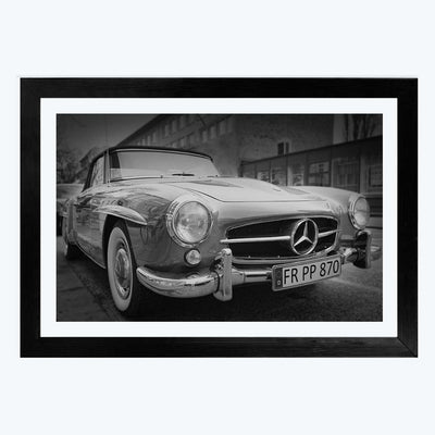 Mercedes vintage cars Bike Framed Photography