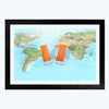 World Map Travel Framed Photography