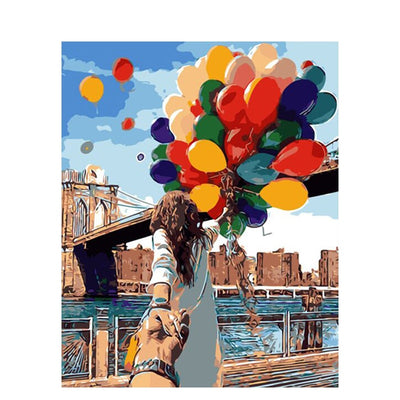 Ballons and Woman