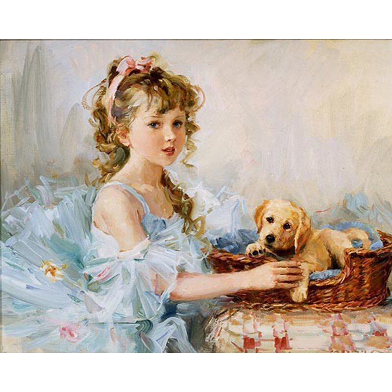 Vintage Girl With Puppy
