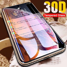 Load image into Gallery viewer, 30D Protective Glass on the For iPhone X XS Max XR Tempered Screen Protector Curved Edge Glass 11 Pro XR XS Max Full Cover Glass