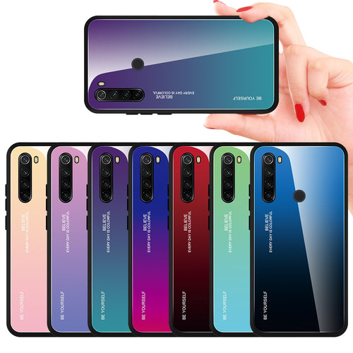 For Xiaomi Redmi Note 8 T Case Tempered Glass Cover Shockproof Phone Case For Redmi Note 8 Pro 8 8T Cover Gradient Bumper Shell