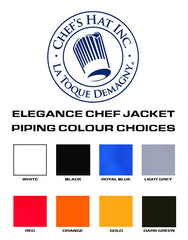 Elegance Chef Jacket - Black - White Piping -Straight Collar