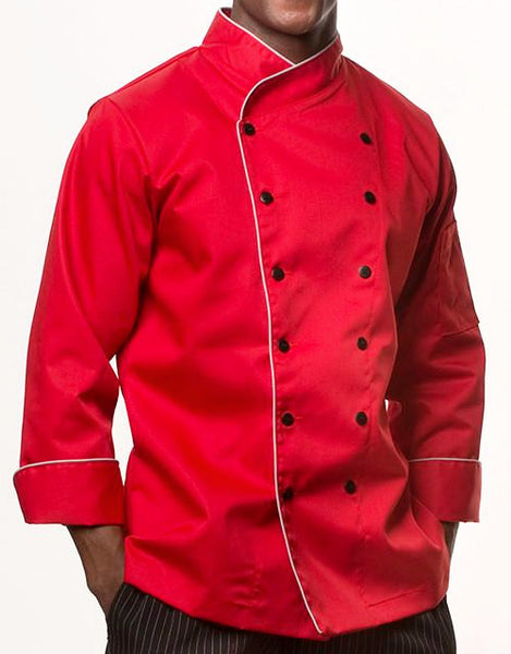Elegance Chef Jacket - Red - Light Grey Piping - Rounded Collar