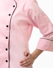 Elegance Chef Jacket - Pink - Black Piping - Rounded Collar