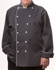 Elegance Chef Jacket - Dark Grey - Straight Collar