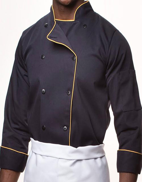 Elegance Chef Jacket - Navy Blue - Gold Piping - Straight Collar