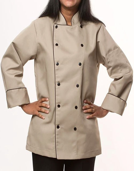 Elegance Chef Jacket - Tan - Black Piping - Straight Collar