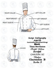 Elegance Chef Jacket - Black - White Piping - Rounded Collar