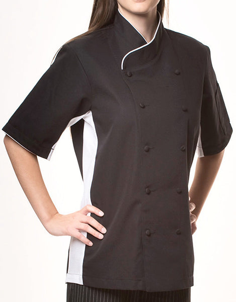 Keep Cool Chef Jacket - Black - White Mesh & Piping - Rounded Collar