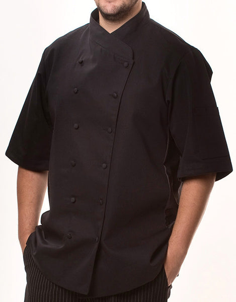 Keep Cool Chef Jacket - Black - Black Mesh & Piping - Rounded Collar