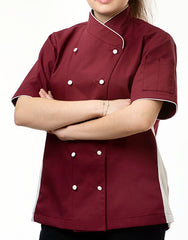 Keep Cool Chef Jacket - Burgundy - Rounded Collar