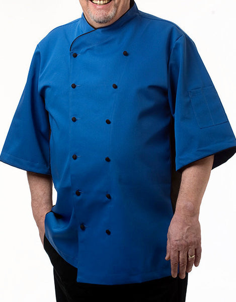 Keep Cool Chef Jacket - Royal Blue - Black Mesh & Piping - Rounded Collar