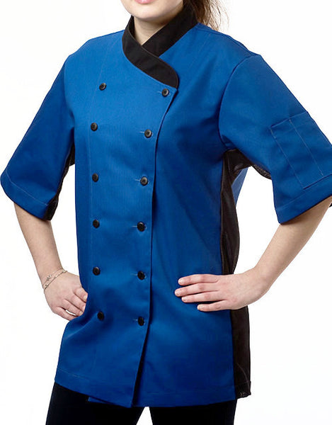 Keep Cool Chef Jacket - Royal Blue - Black Mesh& Piping - Black Rounded Collar
