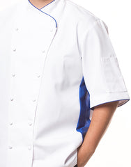 Keep Cool Chef Jacket - White - Blue Mesh & Piping - Rounded Collar