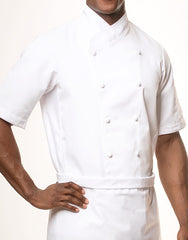 Keep Cool Chef Jacket - White - White Mesh & Piping - Rounded Collar