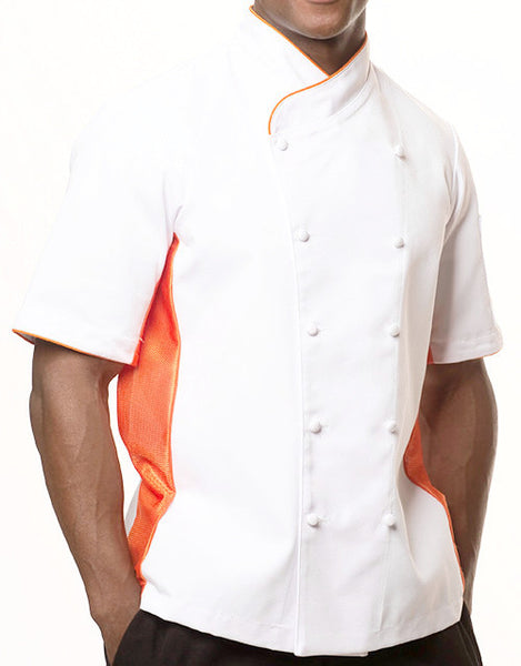 Keep Cool Chef Jacket - White - Orange Mesh & Piping - Rounded Collar