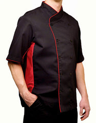 Keep Cool Chef Jacket - Black - Red Mesh & Piping - Rounded Collar