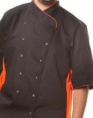 Keep Cool Chef Jacket - Black - Orange Mesh & Piping - Rounded Collar