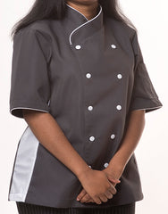 Keep Cool Chef Jacket - Dark Grey - White Mesh & Piping - Rounded Collar