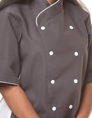 Keep Cool Chef Jacket - Dark Grey - Rounded Collar