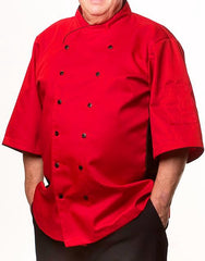Keep Cool Chef Jacket - Red - Black Mesh & Piping - Rounded Collar