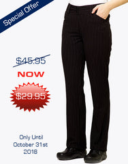 Women's Dress Pants - Black Pinstripe - Offer