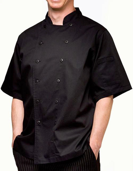 Traditional Chef Jacket - Black - Short Sleeves