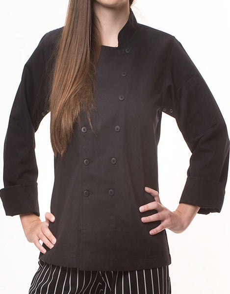 Traditional Chef Jacket - Black - Straight Collar