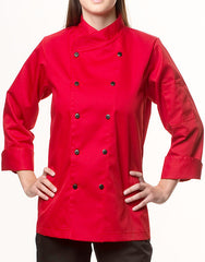 Traditional Chef Jacket - Red - Rounded Collar