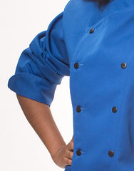 Traditional Chef Jacket - Royal Blue - Rounded Collar