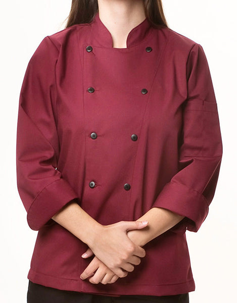 Traditional Chef Jacket - Burgundy - Straight Collar